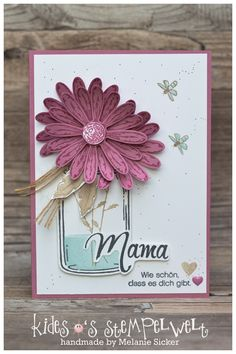 Daisies for Mother's Day Stampin Up Anleitung, Stampin Up Karten, Stampin Up Cards, Parchment Craft, Stamping Up, Flower Cards, Cardmaking, Hand Lettering, Birthday Cards