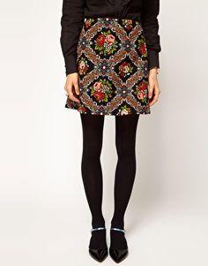 Tapestry A-Line Mini Skirt