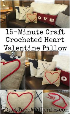 15 minute Valentine pillow, red crocheted heart canvas pillow. Get more DIY and craft ideas on DuctTapeAndDenim.com