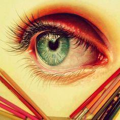 eye drawing color pencil