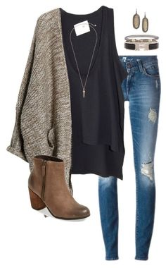 i have boots and jeans  like this- I just need a sweater this color and navy instead of black top and jewelry and i think I may like this look