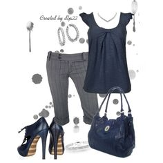 """""""Navy Blue and Gray"""" love it but the shoes need to be flats"""