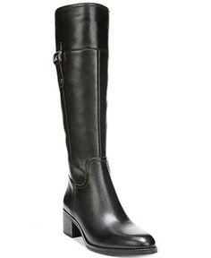 A sleek, knee high riding boot. These are a winter staple. This low heel feels like you're wearing flats and will help to keep you looking warm and stylish. Tuck in skinny jeans for an effortless look. Franco Sarto Lizbeth Wide Calf Riding Boots