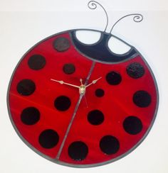 Stained Glass Ladybug Clock by PowerGlassCreations on Etsy, $50.00