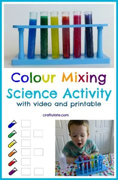 Colour Mixing Science Activity by Craftulate - with free printable and video!