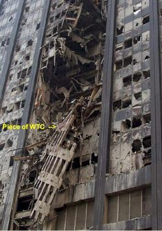 - Photo of the damaged Deutsche Bank Building in New York City near Ground Zero with portion of World Trade Center hanging from front. 11 September 2001, Remembering September 11th, Remembering 911, We Will Never Forget, Lest We Forget, Us History, American History, 911 Twin Towers, Wtc 9 11