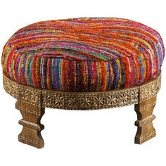 Intricate hand carved round wood base showcases the fabulous hand woven silk sari removable cushion. Stylish and amazingly durable with a boho chic attitude. A must have room accent for living areas a