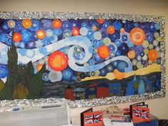 many different art bulletin boards Van Gogh starry night mural painted elementary display collaborative Class Displays, School Displays, Book Displays, Library Displays, Middle School Art, Art School, Primary School Art, High School, Art Bulletin Boards