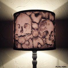 Paris Catacombs skull lamp shade lampshade - home decor, lighting, halloween decor, skulls, Spooky Shades, gothic, graveyard