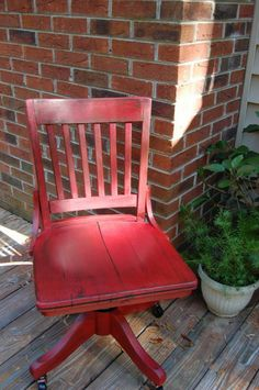 Chair with red milk paint. I need this chair for my desk.~DRH