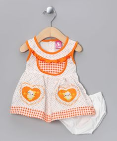 Take a look at this Orange Kitty Dress & Diaper Cover - Infant on zulily today!