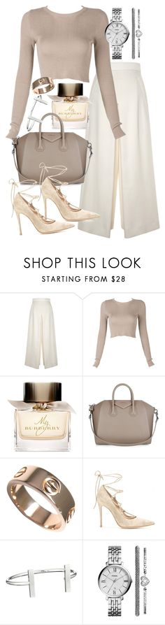 """""""Untitled #19342"""" by florencia95 ❤ liked on Polyvore featuring Proenza Schouler, Burberry, Givenchy, Cartier, Gianvito Rossi, French Connection and FOSSIL"""