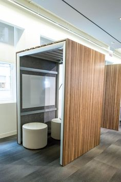 Creative phone booth meeting areas open office, small office, cool office s Open Office, Cool Office, Small Office, Corporate Interiors, Office Interiors, Commercial Design, Commercial Interiors, Bureau Open Space, Lofts
