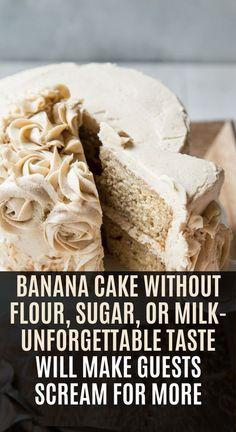 Banana Cake Without Flour, Sugar, or Milk