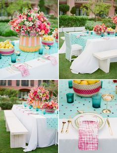 Bright cheerful hues of turquoise, fuschia, and yellow bring a joyous feeling to a Spring wedding celebration!