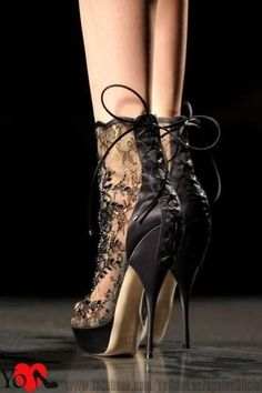Lace Corset Heels / Christian Dior ----Thinking about buying some very high heels.these would look great. (wonder if i can walk in them) --EMM Hot Shoes, Crazy Shoes, Me Too Shoes, Dream Shoes, Talons Sexy, Sexy Heels, Lace Heels, Lace Booties, Leather Booties