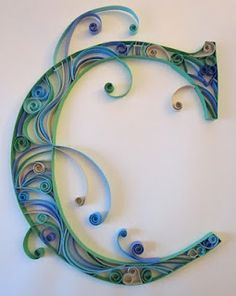 Quilled Monogram, this is so pretty.  I used to quill all the time, maybe need to get back into it.