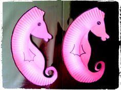 Hippocampes, bricolage enfant, océan, mer, animaux, assiettes en carton