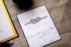 Nautical Wedding Save the Date Seen in Cobalt by NINE7OHDESIGNS, $6.00