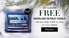 FREE candle with order of $45 or more in Brochure 25.  Deal good until 11/20.  SHOP NOW:  https://www.avon.com/?rep=mneibacher