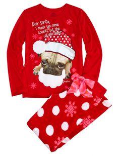 Holiday Dog Fleece Pajama Set   Girls Pajamas Pjs, Bras & Panties   Shop Justice