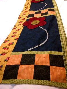 """Country Window Topper Valence Floral Plaid 10' Wide by 17""""L, OR Table Runner EUC #Handmade #Country"""