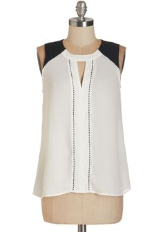 Composer Composure Top - Mid-length, Sheer, Woven, White, Black, Cutout, Party, Colorblocking, Sleeveless