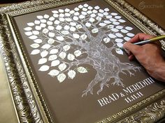 Wedding Guest Book Tree - The Oakwik - A Peachwik Interactive Art Print - 100 guest sign in - Wedding Oak Tree Rustic Guest book Print. $38.00, via Etsy.