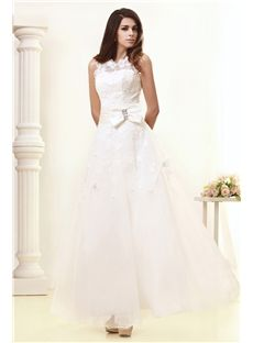 Sumptuous A-line Ankle-length Bowknot Taline's Wedding Dress & inexpensive Wedding Dresses
