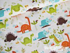 """Designerstoffe USA - Stoff Riley Blake """"Dinosaurs"""" Dinosaurier weiß - ein Designerstück von christinaholz bei DaWanda"""