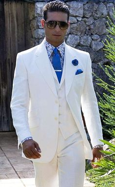 Hate the bright blue but love the fit of this white suit