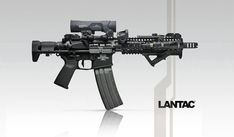 Short barrel AR-15 with custom PDW stock and Surefire 100rd casket mag