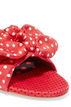 Tabitha Simmons - Cleo Bow-embellished Polka-dot Satin-twill Slides - Red - IT