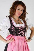 3tlg. Stickrosen Dirndl Set Schwarz Pink mit Bluse und Schuerze