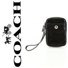 "Coach Black Leather Phone Case LIKE NEW, beautiful black leather Coach Phone Case. Length: 3"" Width: 1"" Height: 5"". Top Zip Closure. Outer Pocket.  Great for using as a clutch to hold your essentials on a night out on the town!  Coach Accessories Phone Cases"