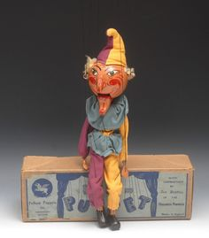 Lot 85 - SM Punch - extremely rare, very few known, Pelham Puppets SM Range, large round wooden head,