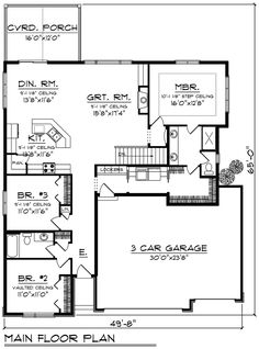 House Plan 75452 - Modern, Ranch Style House Plan with 1742 Sq Ft, 3 Bed, 2 Bath, 3 Car Garage Contemporary House Plans, Contemporary Bathrooms, Best House Plans, House Floor Plans, 3 Car Garage, Garage House, Murphy Bed Plans, Modern Ranch, Ranch Style Homes