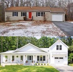 A ranch style home makeover from run down to Farmhouse chic! home renovation Our New House - Seeking Lavendar Lane Home Exterior Makeover, Exterior Remodel, Farmhouse Homes, Farmhouse Chic, White Farmhouse, Farmhouse Renovation, Industrial Farmhouse, Farmhouse Floor Plans, Farmhouse Remodel
