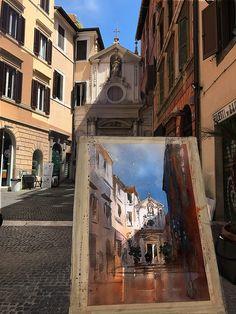 Thomas W Schaller Plein air demo - St. Barbara of the Books. — in Rome, Italy.