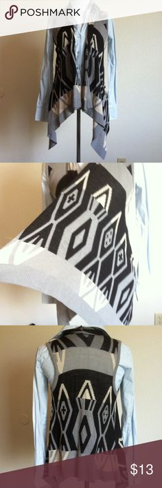 Sweet n' Sinful Sweater Vest Size M Sweet n' Sinful open sweater vest with rolled collar and grey/cream/black tribal pattern. Very good condition, no damage or staining. Sweet n' Sinful Tops