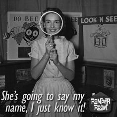 """I was on """"Romper Room"""" a few times around It would be so great to find the vids for that.I would just love for my mother to see it! Remember the mirror! lol Romper Room TV show: """"I see Johnny. and Suzie. and Mary. Romper Room, Cultura General, Old Shows, Vintage Tv, Vintage Kids, Vintage Games, Vintage Stuff, Childhood Toys, My Childhood Memories"""