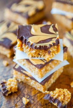 Chewy Peanut Butter and Chocolate Cereal Bars (no-bake, vegan, gluten-free)