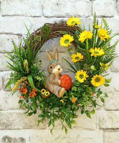 Spring Wreath, Bunny Wreath, Easter Wreath, Font Door Wreath, Silk Floral Wreath, Grapevine Wreath, Rabbit, Etsy Wreath - This beautiful bunny wreath was handmade using a grapevine wreath base adorned with lovely purple, orange and yellow silk flowers, moss, greenery, and an adorable sisal straw bunny with an orange egg and a little basket. This is such a wonderful wreath that can be displayed on your wall, mantel, or front door. Perfect for Spring, Easter, and Summer! • Already made an...