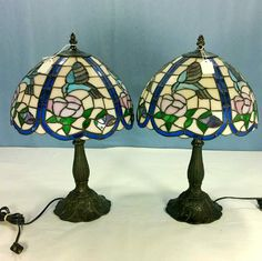 Stain Glass Table Lamps with Hummingbird Shades