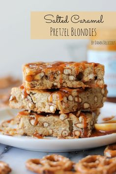 Salted Caramel Pretzel Blondies Recipe ~  the most wonderfully soft yet crunchy bars, oozing with sticky, caramel goodness!