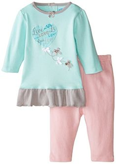 BON BEBE BabyGirls Newborn Love and Bows 2 Piece Dress Set Multi 69 Months ** Learn more by visiting the image link.