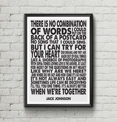 Jack Johnson  Better Together  Lyric Art by LikeableType on Etsy