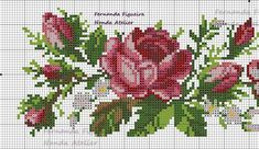 This Pin was discovered by Yağ Cross Stitch Boarders, Cross Stitch Heart, Cross Stitch Flowers, Cross Stitch Designs, Cross Stitching, Cross Stitch Embroidery, Embroidery Patterns, Hand Embroidery, Cross Stitch Patterns