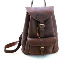 distressed leather backpack.