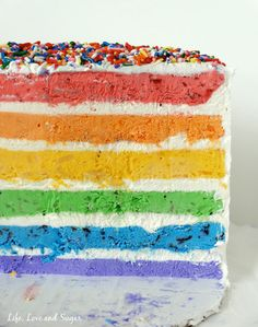 Skinny Rainbow Ice Cream Cake with Fresh Fruit (no ice cream maker!) by Life, Love and Sugar